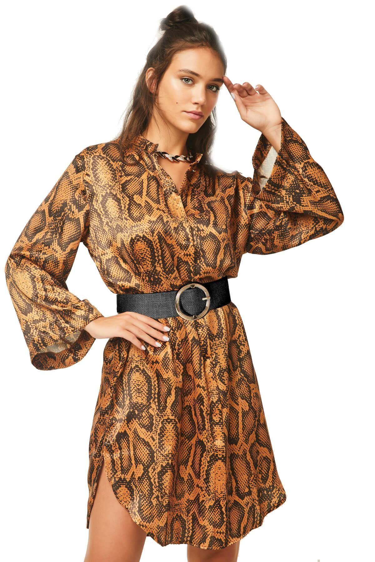 European and American fashion women's sexy shirt dress nightclub snakeskin print long sleeve design casual dress