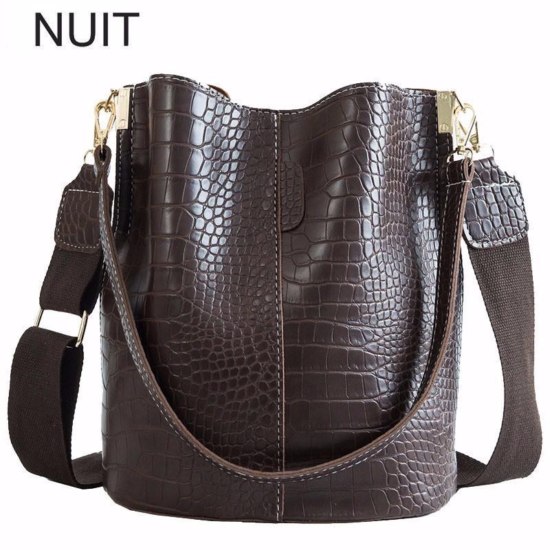 Krokodil-Frauen-Schulter-Stadtstreicherin-Bucket-Handtasche PU-Leder Große Kuriertasche Reißverschluss-Tasche 2019 Mode Bolsa Feminina