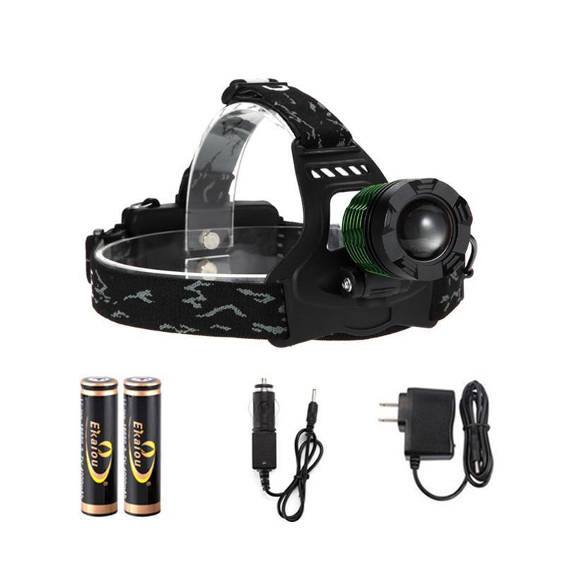 Rechargeable XML T6 Adjustable Zoomable LED Headlamps Head Lamp torch Headlight Flashlight Lantern gift box with 18650 battery charger