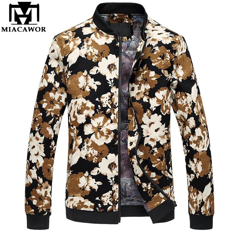 Miacawor جديد أزياء الرجال سترة زهرة طباعة منفذها سترات الخريف jaqueta masculino عارضة الذكور الملابس حجم 5xl 6xl MJ409