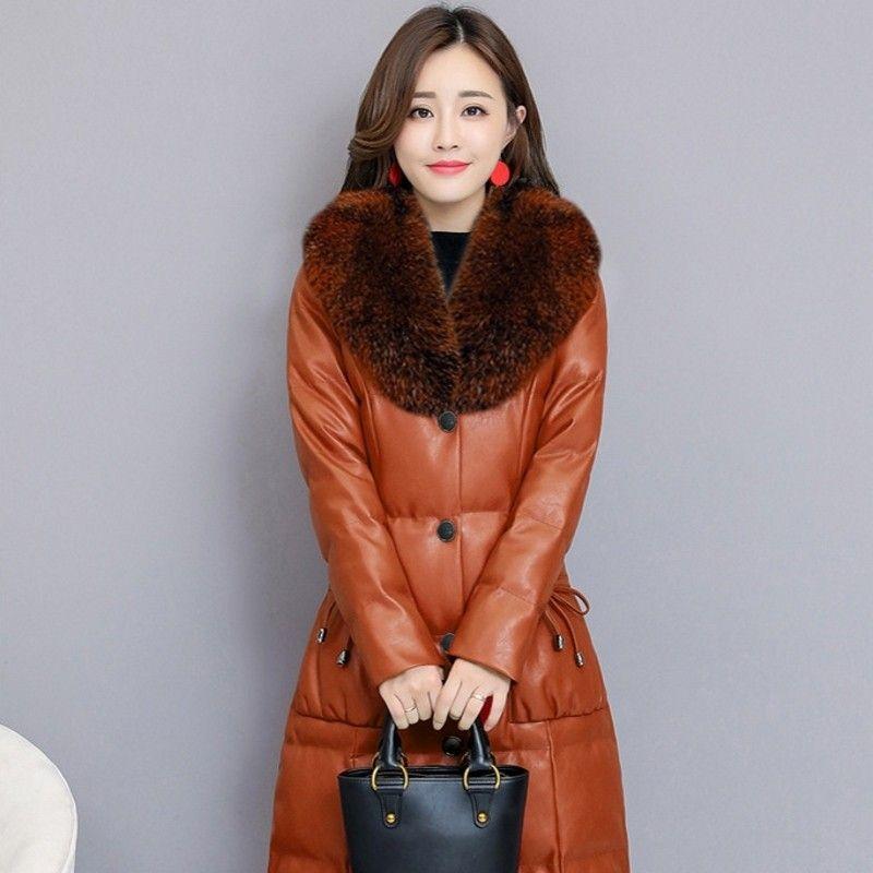 Faux Fur Collar PU Leather Jacket Womens Elegant Plus Size S-4XL Ladies Long Parkas Coat Slim Fit Warm Winter Clothes