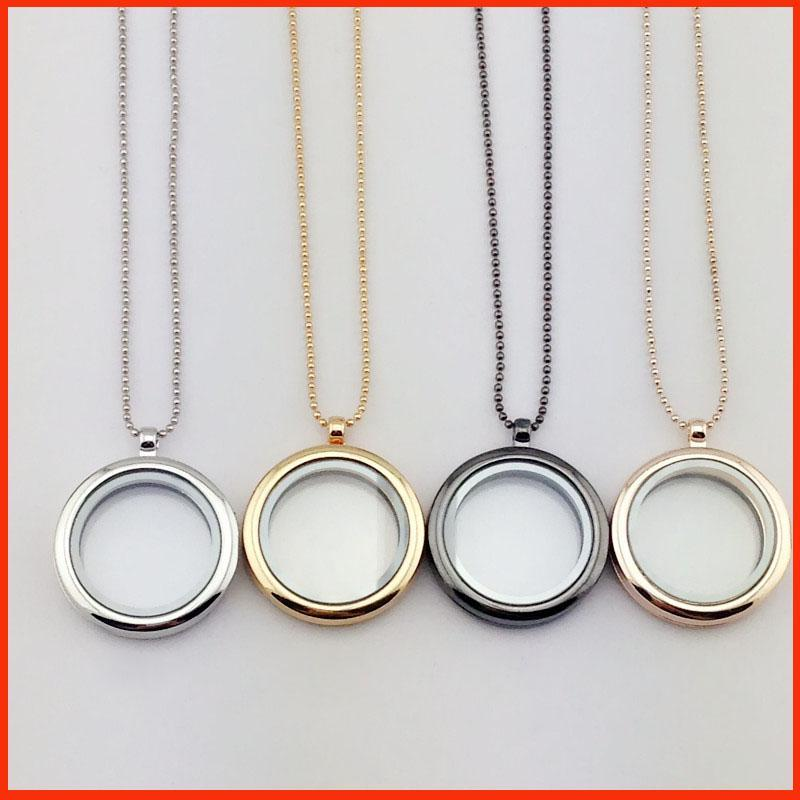 Floating Charm Glass Round Locket DIY Necklace Living Memory Glass Pendant