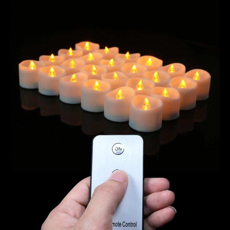 12PCS Flameless LED Tea Lights Battery Operated with Remote Control Realistic Flickering Electric Candles Y200531