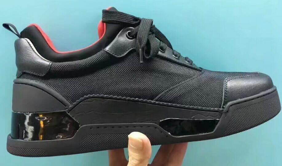 2018 EU-Größe 36-46 der beiläufigen Schuhe Günstige rote untere Turnschuhe für Männer mit Spikes Strass schwarzem Wildleder und weise beiläufigen Mensschuh Freizeit c29