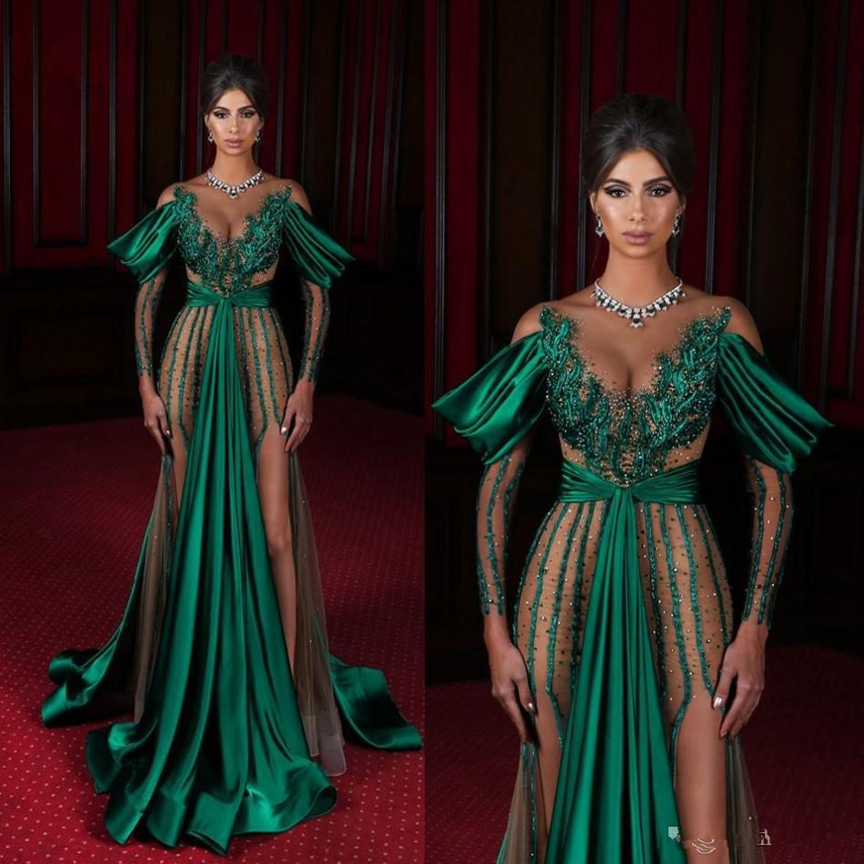 Abiti da sera verde scuro Sheer Jewel Neck Neck High Laterale Spalato Manica lunga Mermaid Prom Dress Satin Satin Saudi Arabia Celebrity Red Carpet Agaws
