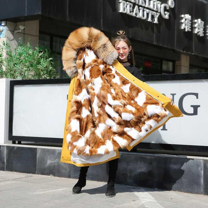 Parka Winter-Frauen für Damenmode koreanischen Echt Pelz-Mantel Abrigos Mujer Invierno 2020 YY2070