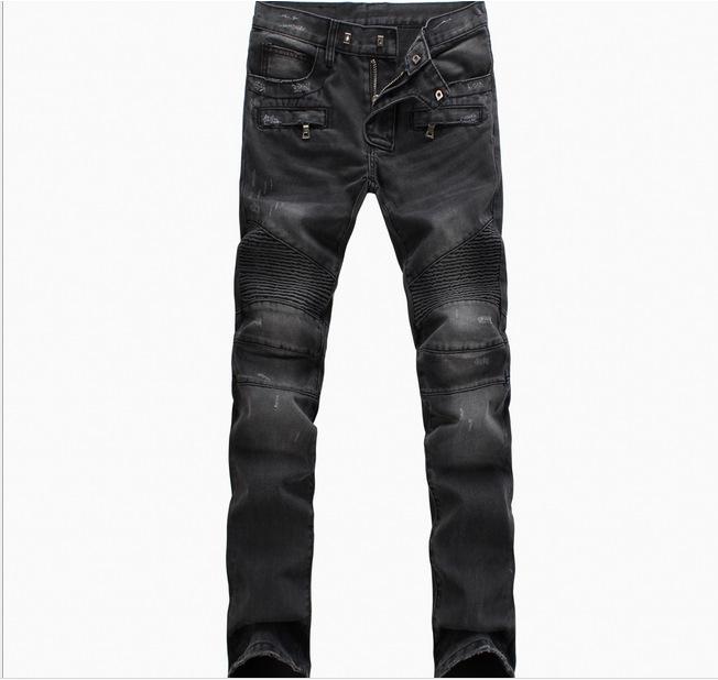 Nuova BP Mens della pista di modo motociclista Slim stretch denim lavato jeans al ginocchio pieghettati uomini di alta moda Moto punk dei jeans di formato 28-38