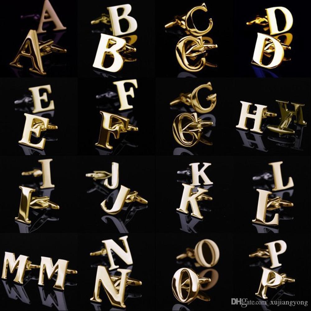 Mode Nouveau Hommes Première lettre Gold Business Alphabet Boutons de manchettes Boutons de manchette mariage formel Cufflink