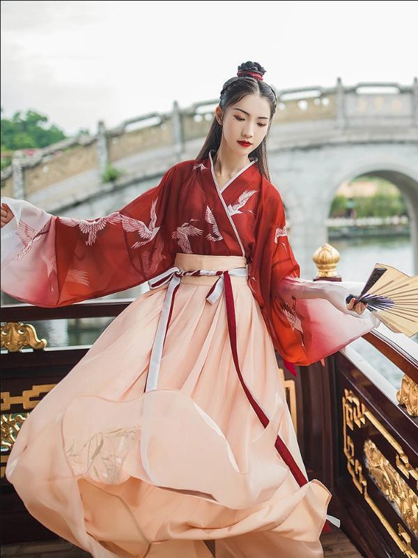 Antiguo chino tradicional Ropa para mujer Trajes Hanfu bordados niñas escenario de funcionamiento del vestido popular traje de la danza