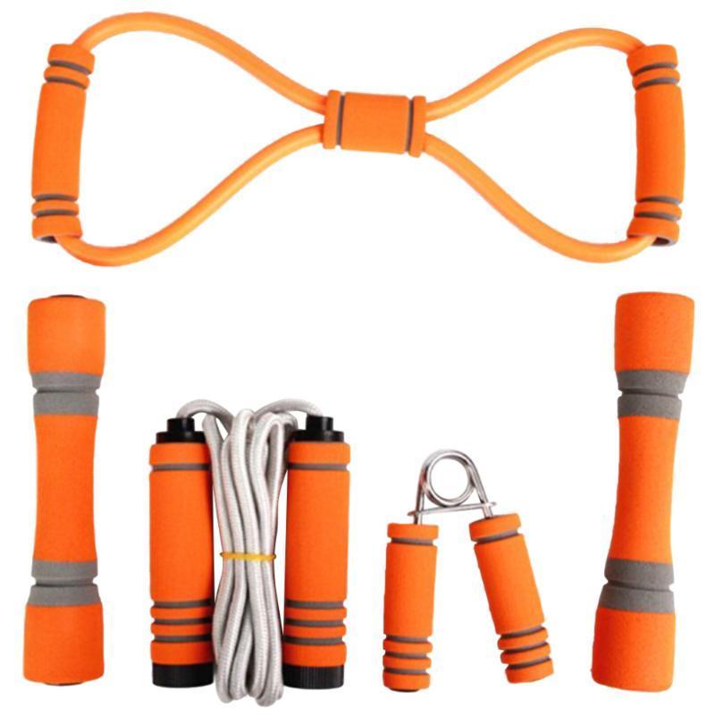حبل الطفر محفظة 5pcs اليد القابض بولير الدمبل مجموعة ممارسة الرياضة ملحقات معدات اللياقة البدنية للرجال للنساء