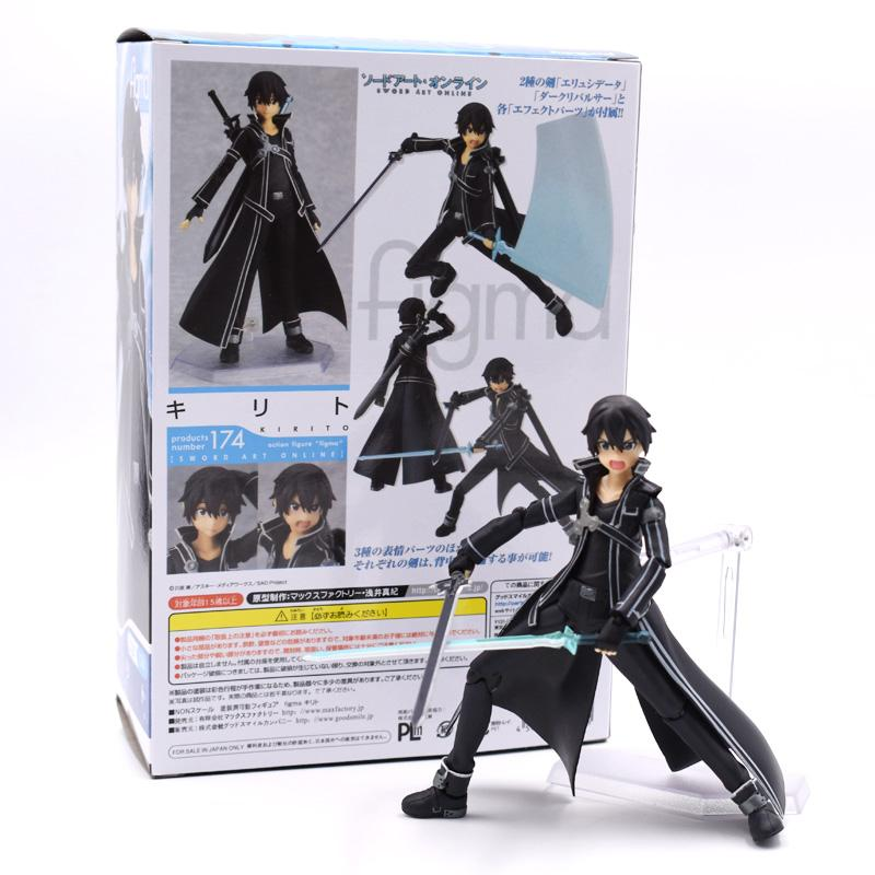 15cm Art Online Action Figure SAO Kirito Figma 174 Model Doll With Weapon Free Shipping