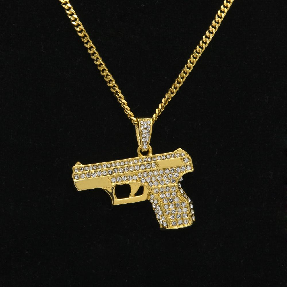 2017 neue angekommene gold versilbert hip hop pistolenform halskette 60 cm kubanischen gliederkette bling bling mode halsketten