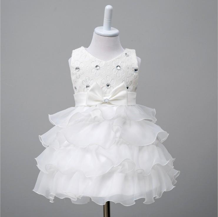 Baby Girls High Quality Organza Ball Gown Dress For Wedding Childrens Flower Lace Elegant Cake Dress Kids One Month Party Dress