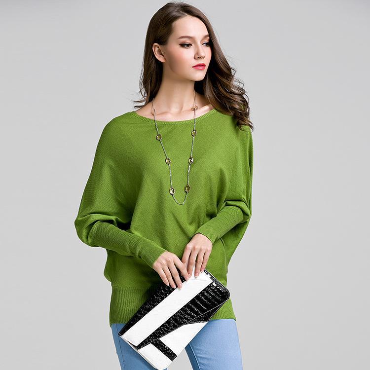 Весна новый рукав летучей мыши женщины свитер пуловер свитер сплошной цвет с длинными рукавами рубашки