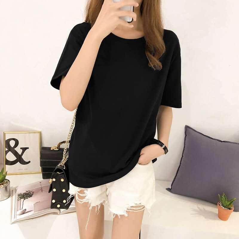 Mit kurzen Ärmeln für Frauen in weißem T-Shirt 2020 neue Sommer-Kleid locker sitz einfarbig T-Shirts mit kurzen Ärmeln für Frauen in der koreanischen verse