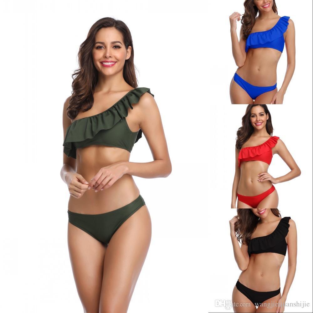 Female Swimsuits 2019 Women's hot style little floral flounce bikini Brazilian pants swimsuit High Waist Biquinis Bathing Suit Beachwear