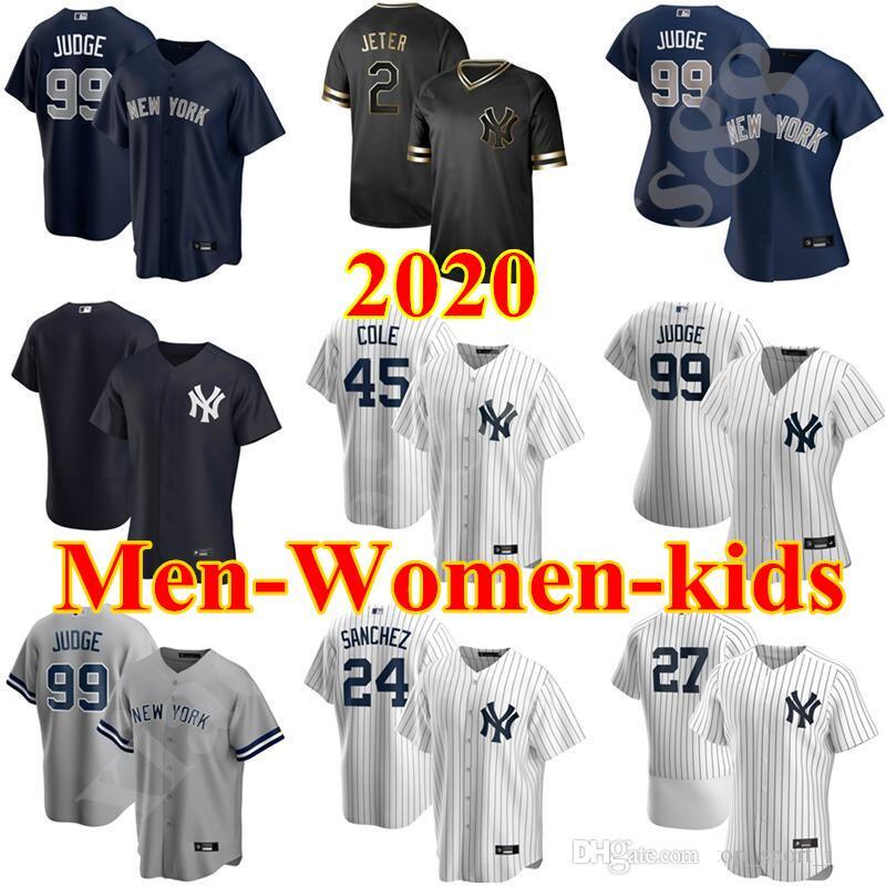 2020 البيسبول 45 جيريت كول جيرسي 2 ديريك جيتر غاري سانشيز دج ليماهيو هارون القاضي Gleyber توريس جيانكارلو ستانتون الرجال الأطفال النساء البيض