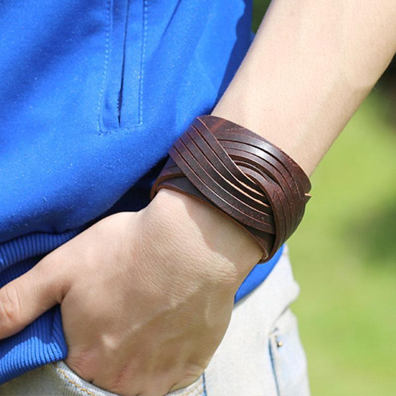 Punk Rock Hommes Femmes Bracelet Vintage Large cuir noir brun mode Bandeaux Tressé Bracelet Bijoux Cadeaux
