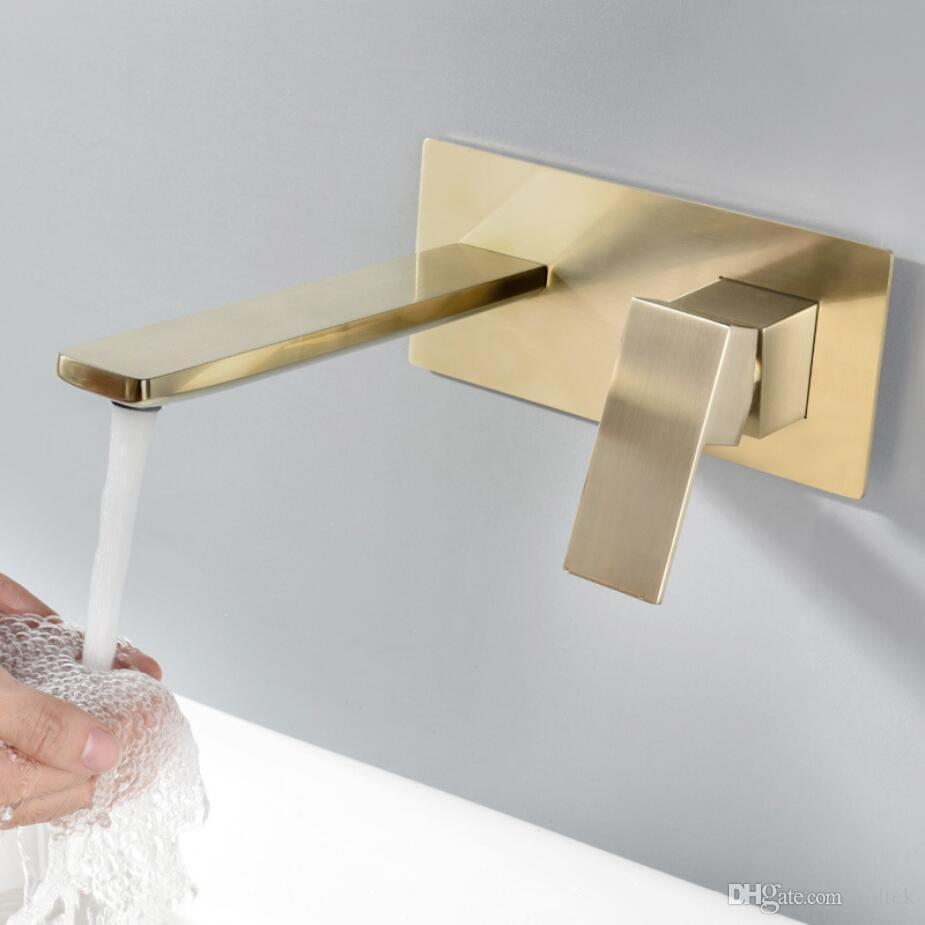 Одной ручкой, 2 отверстия, скрытые встраиваемые в стену золотые матовые латунные смесители для раковины ванной комнаты Смеситель для горячей и холодной воды Смеситель для ванны
