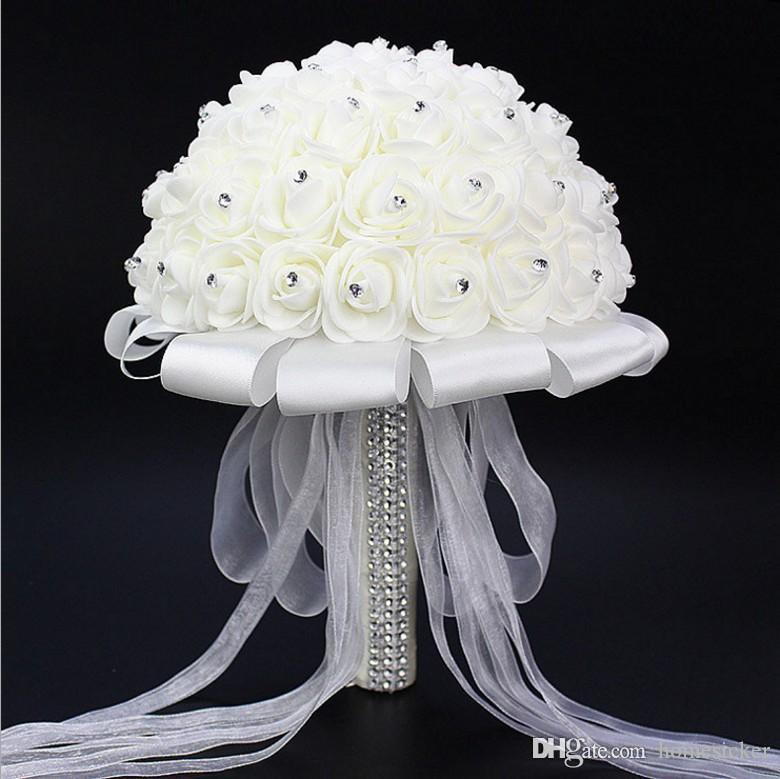 2019 bouquet de mariage Superbe cristal de mariage Bouquets de mariage Fleurs artificielles Accessoires Rose De Mariage Bouquet de mariée