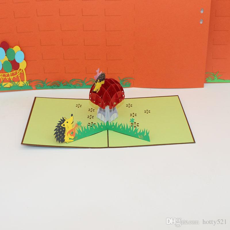Awesome Hot Sale 3D Handmade Cartoon Hedgehog Mushroom House Paper Baby Funny Birthday Cards Online Alyptdamsfinfo