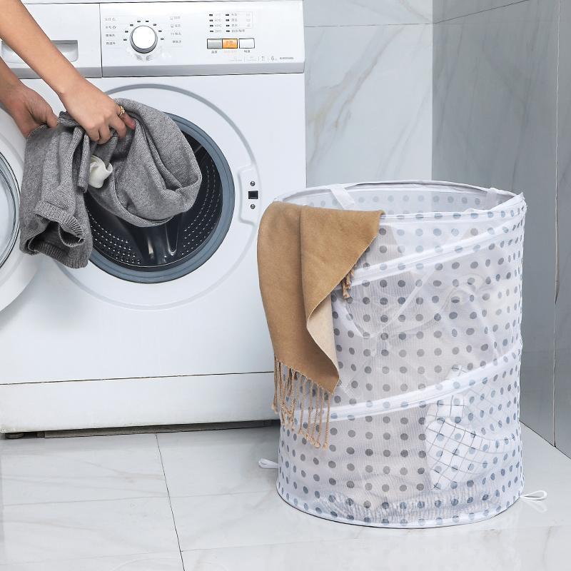 Foldable polka dot laundry basket.Large capacity household storage basket.Put toys, laundry, storage box and rattan.