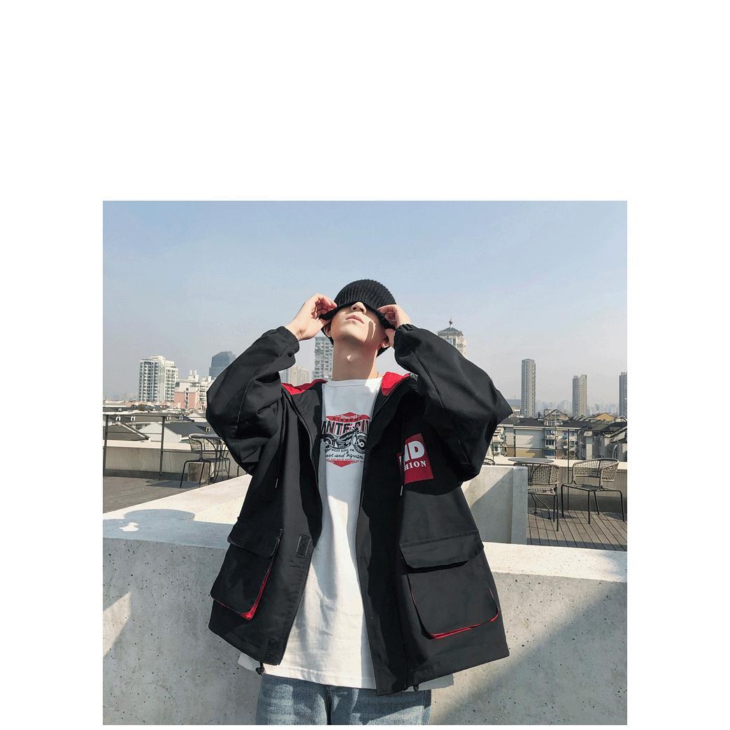 Erkek Lüks ceketler Mens Kapşonlu Gevşek Büyük Cep tulumları Gençlik Trend Coat Gençlik Casual Ceket Erkek Katı Renk Coats 2020 Sıcak Satış