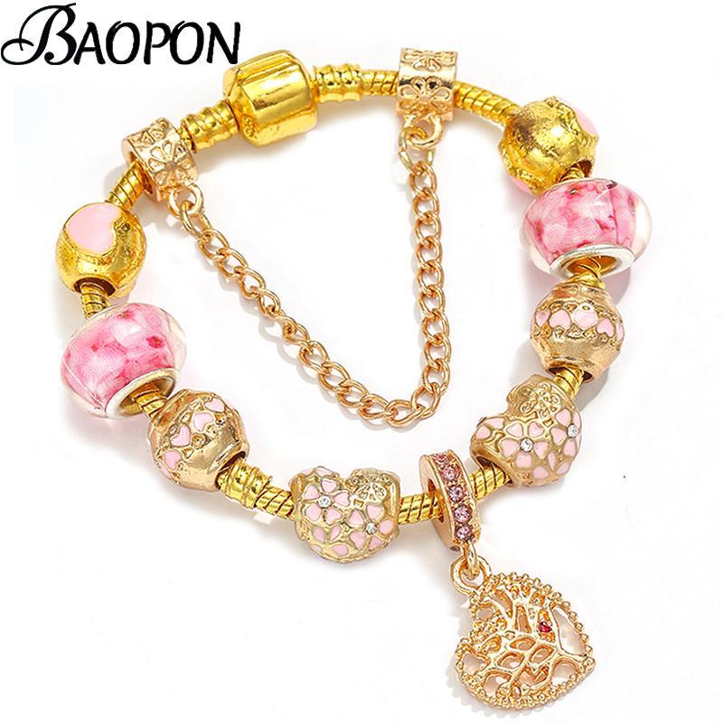 BAOPON Кристалл Женщина браслет Уникального цвета золота цепь браслеты шарма для женщин DIY шарики браслет подарок ювелирных изделий