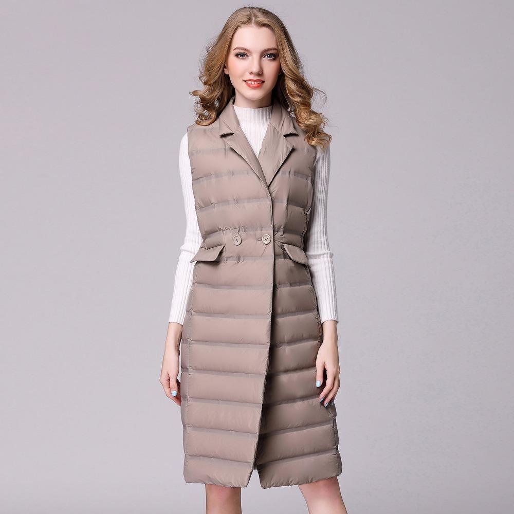 Nouveau long Femmes Gilet blanc duvet de canard veste ultra léger vers le bas Veste manches Slim Gilet