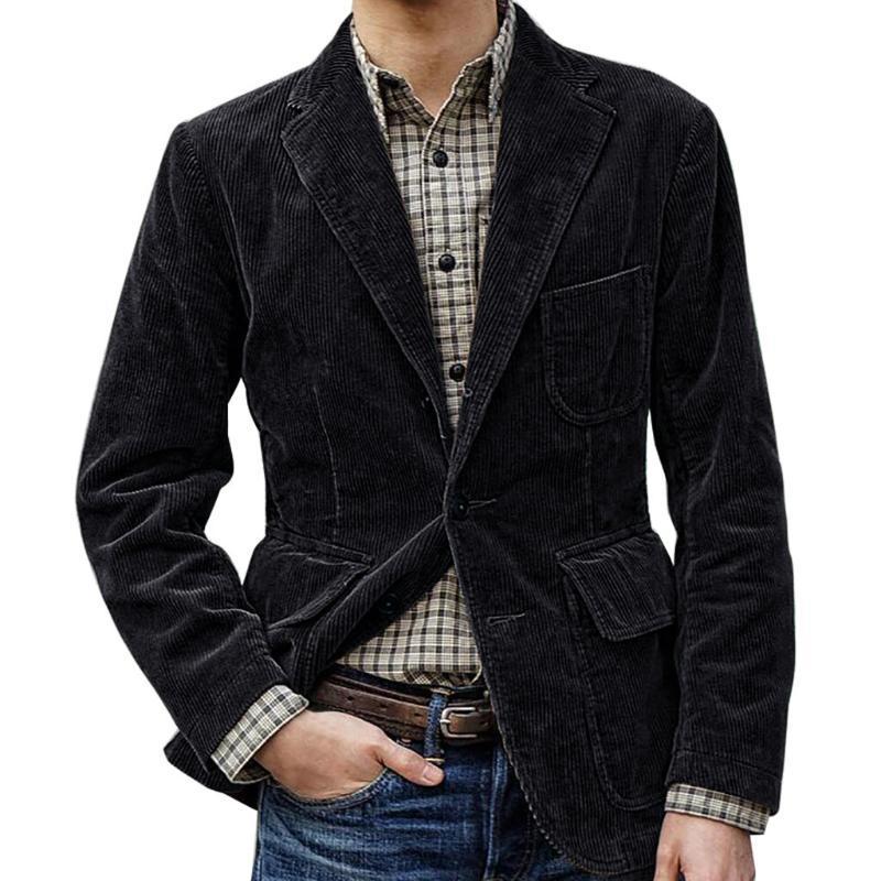 Chaqueta de pana de marca de moda para hombre estilo británico Casual Slim Fit chaqueta de traje Blazers hombres chaqueta de abrigo de un solo pecho z1016