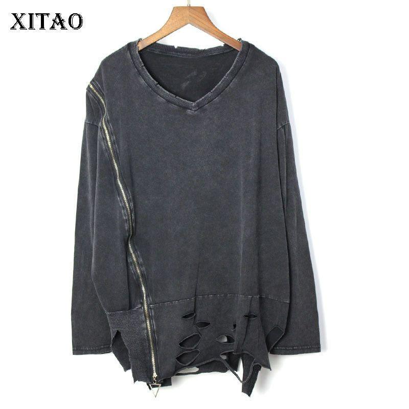 [Xitao] primavera-estate 2019 manicotto Nuova femmina casuale pullover Tee Europa pieno di modo V-collo della maglietta di colore solido WBB2784 Y200110