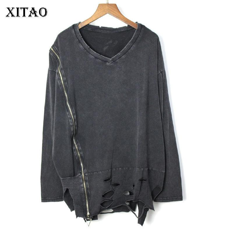 [Xitao] Primavera-Verão 2019 da luva New Feminino Casual Pullover Tee Europa Moda completa V-neck Cor Sólidos T-shirt WBB2784 Y200110