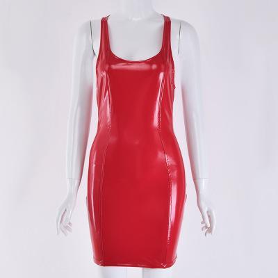 Vestido de las mujeres de las mujeres de cuello redondo vestidos delgados de Ladys atractivo del partido de la PU del estilo de señora de las faldas al por mayor estilo brillante brillante falda atractivo sólido Color Club