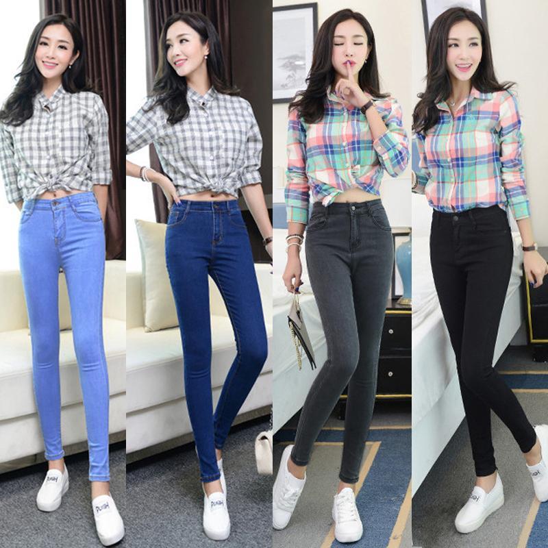 Jeans de mujer Tallas grandes Cintura alta Stretch Jeans ajustados lavados Mujer Pantalones de mezclilla 2019 Lápiz Azul claro Gris Negro Venta caliente MX190729