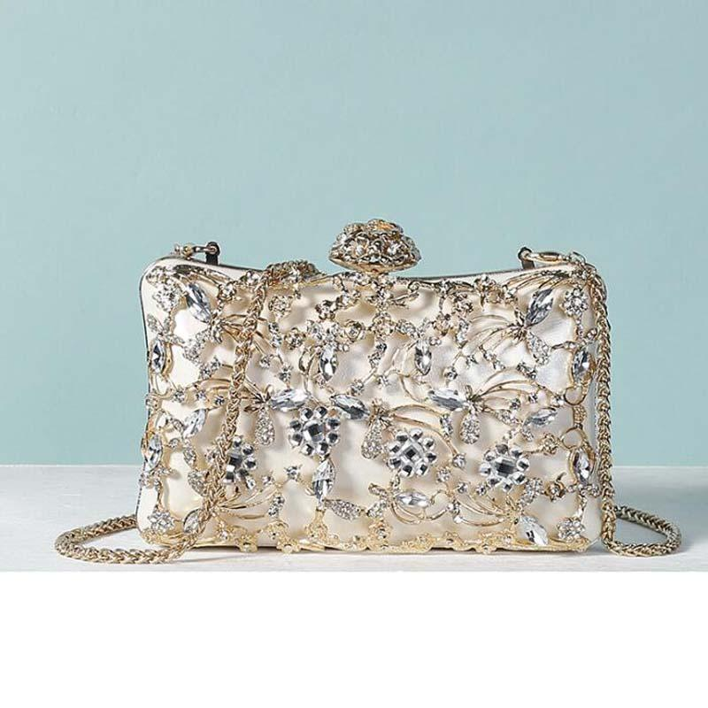 Clutch Evening Bags Hollow Out Rhinestones Evening Party Bag Purse Shoulder Bag for Wedding Diamonds Lady Mini Handbags Bags
