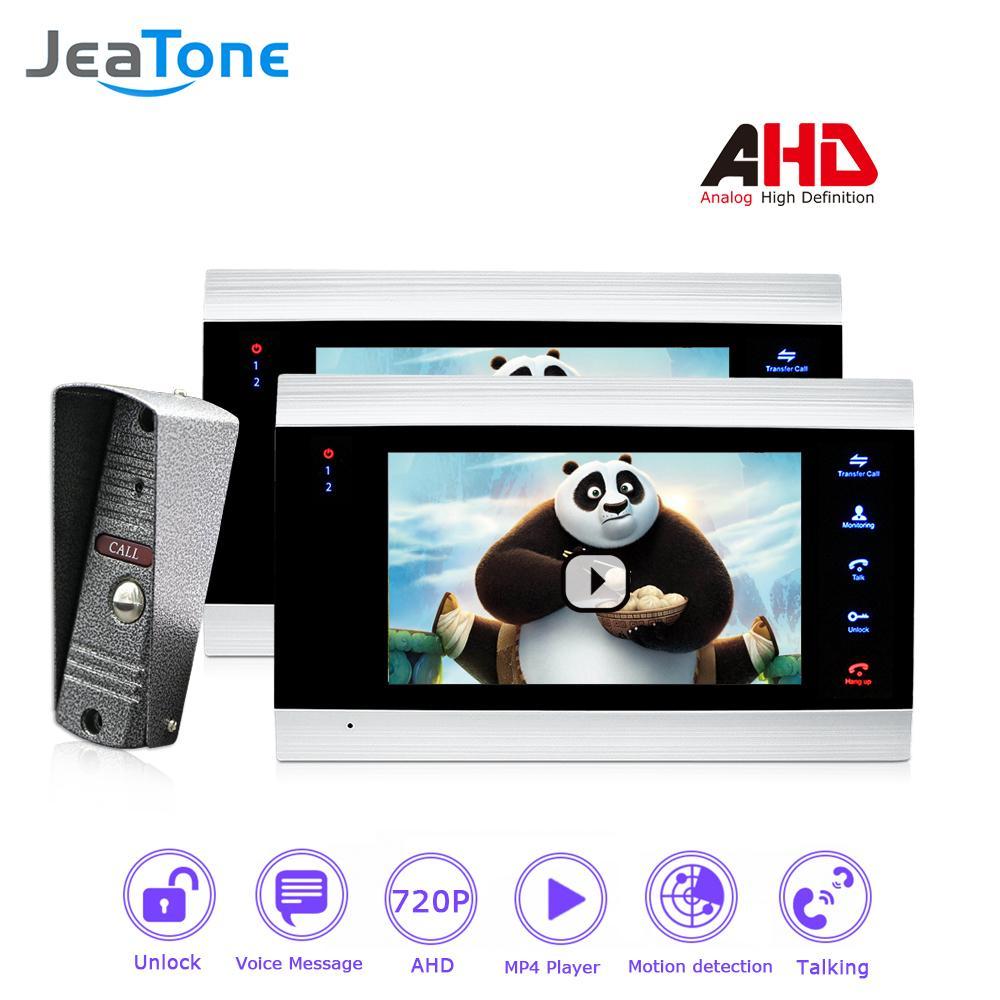 JeaTone 720P/AHD 7'' Video Door Phone Intercom 4 Wired DoorBell Door Speaker Security System Voice Message/Motion Detection/MP4 Player