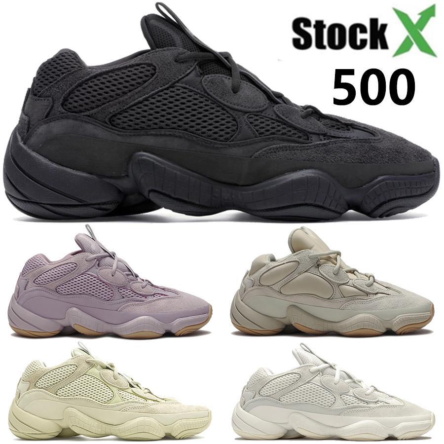 كاني ويست صحراء الفئران 500 لينة رؤية الحجر العظام استحى الأبيض فائدة الملح الأسود الاحذية الرجال النساء أحذية رياضية عالية الجودة مع مربع