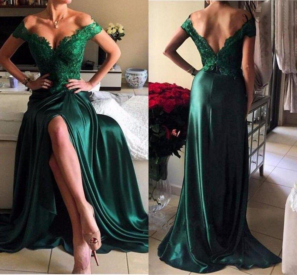 Compre Vestidos De Noche De Color Verde Esmeralda Fuera Del Hombro Apliques Con Encaje Corte Lateral Lado Largo Backlss Vestido De Fiesta Dh218 A