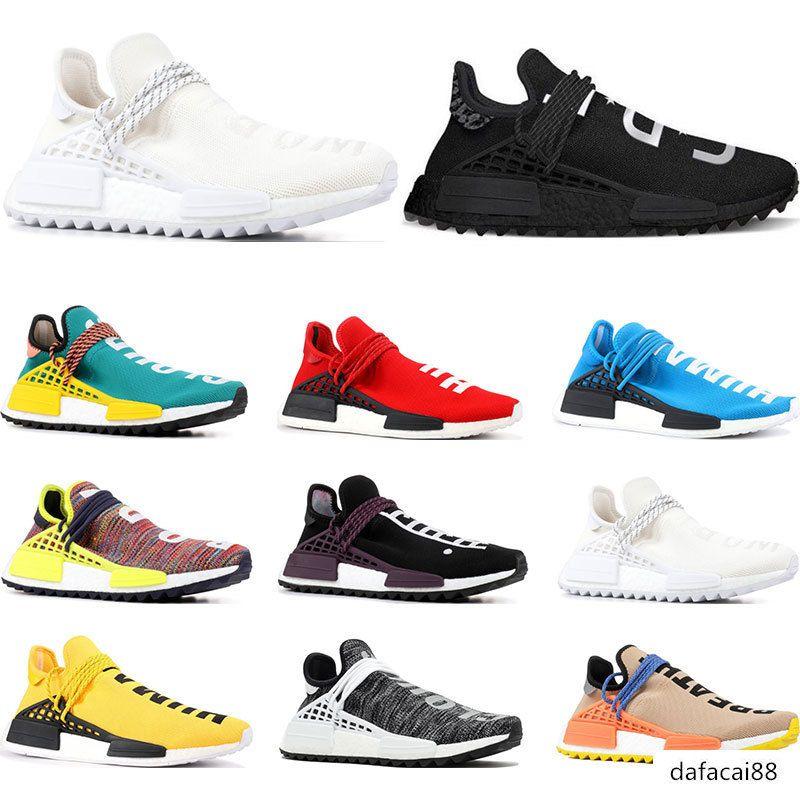 New Human Race Hu trail pharrell williams running shoes Nerd black cream Holi trainers mens women sports runner sneaker size 36-47