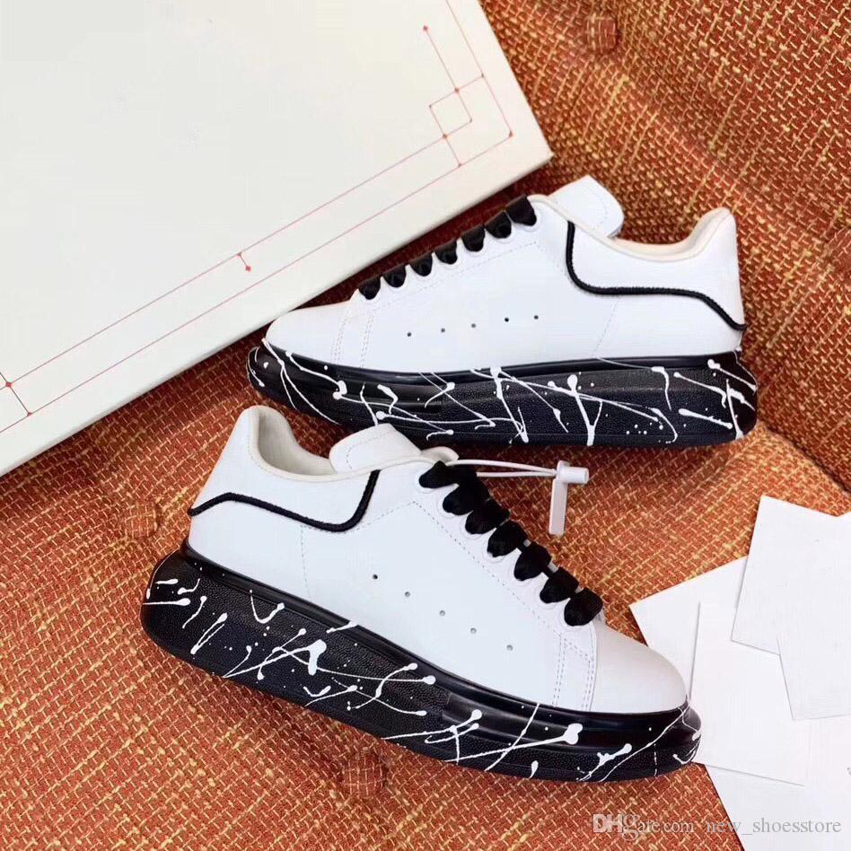 2020 مصمم أزياء النساء الفاخرة أحذية الرجال عارضة أحذية رياضية أسود أبيض جلد منصة الكتابة على الجدران أحذية فريدة من نوعها سميك أسفل اللباس حذاء رياضة