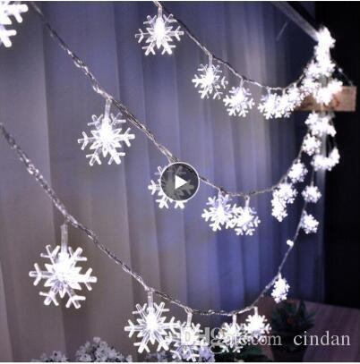 LED 눈송이 문자열 조명 크리스마스 트리에 대한 눈 요정 갈 랜드 장식 새해 룸 발렌타인 데이 배터리 플러그 운영