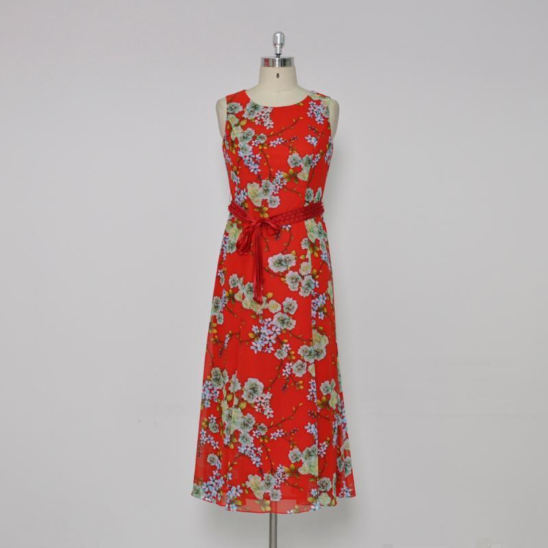 Şifon baskı el tırnak boncuk kemer uzun yelek elbise