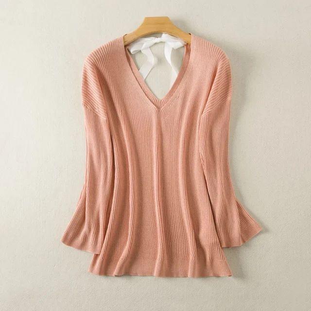 V-Lace pescoço-se camisola