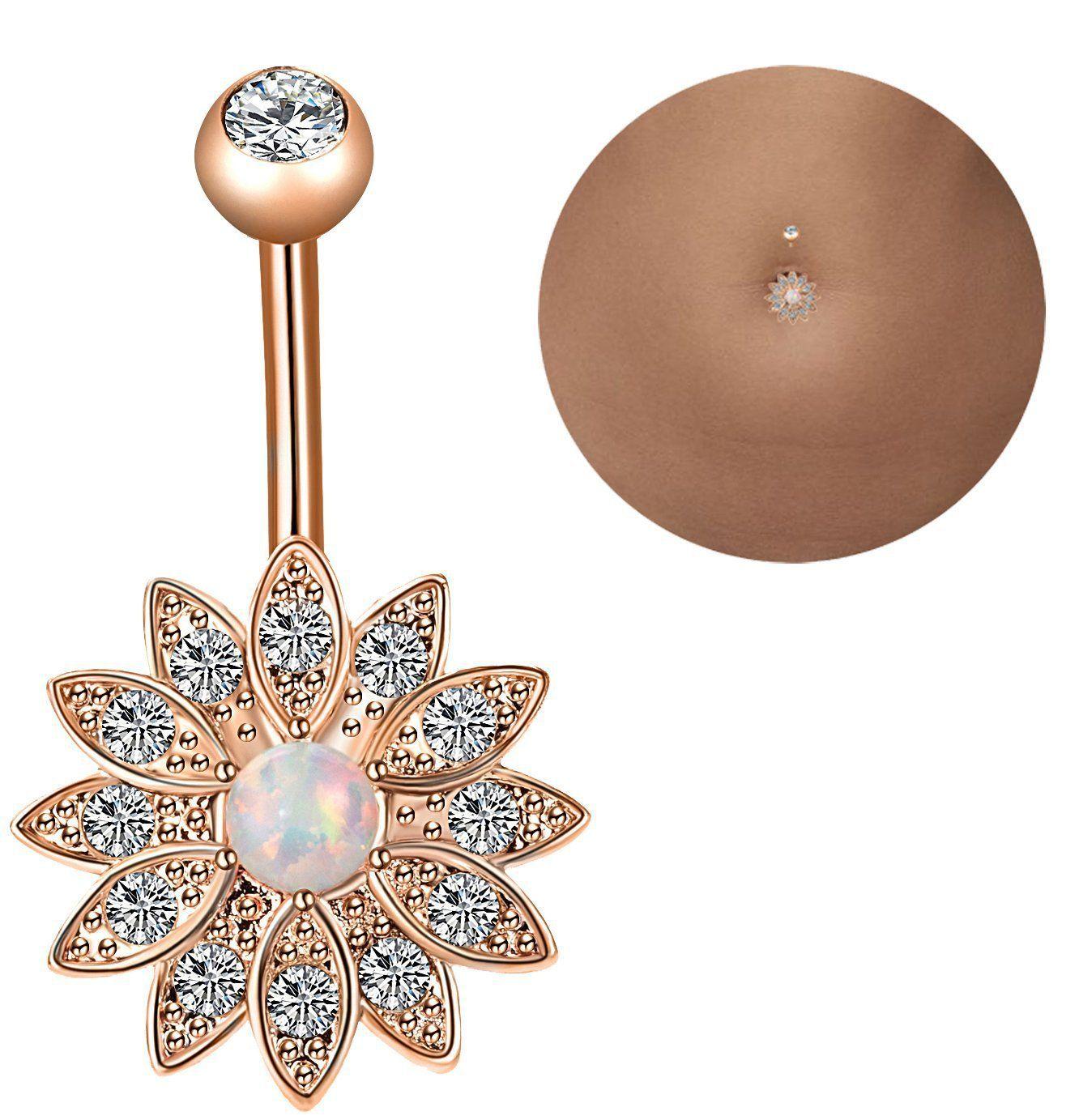 3 / lot de combinaisons de bague de nombril boule en céramique molle avec clou nombril opale
