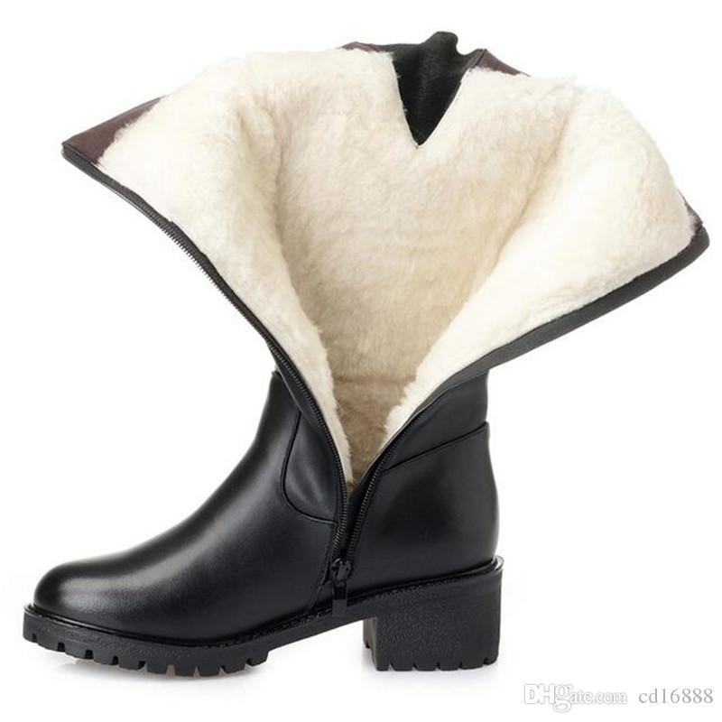 2019 новая зимняя элегантная женская мода сапоги на толстом каблуке большого размера из натуральной кожи женщины теплые плюшевые шерстяные ботинки снега