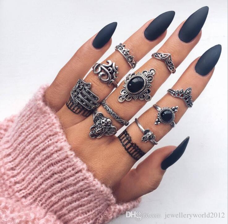 Богемный стиль ретро женский слон ладони выдолбленные цветок черный драгоценный камень совместное кольцо набор из 10 штук сочетание набор кольцо 3 компл. / лот