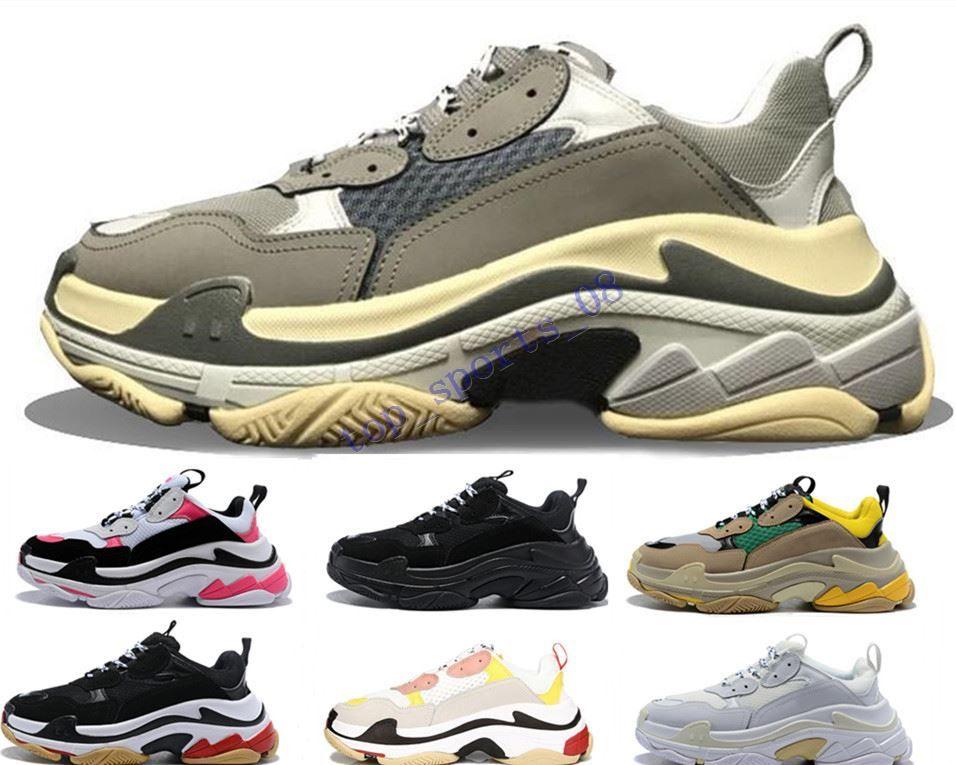 2019 مصمم الأحذية الثلاثي s للرجال النساء أحذية رياضية أزواج 17fw أسود أبيض أحمر وردي رجل المدربين الأزياء عارضة أبي الأحذية زيادة حذاء رياضة