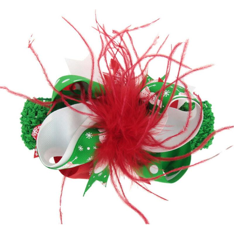 Noël Enfants Bébés filles Enfants plumes Ruban Barrette Bow Accessoires Party Chapeaux Hairpin