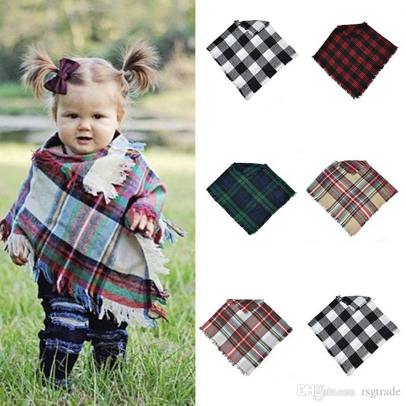 Free DHL Baby Girls Winter Plaid cloak Kids lattice shawl scarf poncho cashmere Cloaks Outwear Children Coats Jackets Clothing 5 colors