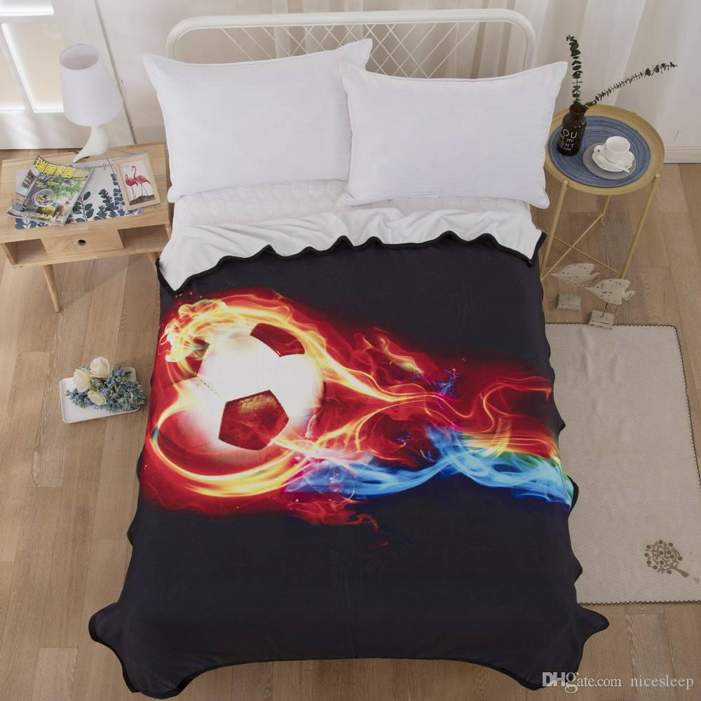 Fashion Blanket Football On Fire Colorful Adults Kids 3D Printed Flannel Blankets Quality Modern